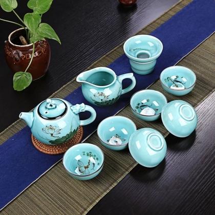 新品德化纯手绘青瓷茶具 钧窑手绘茶具套装