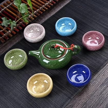 七彩冰裂釉茶具 功夫茶具套装