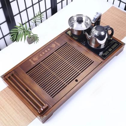 全自动 四合一茶具套装实木连年有余茶盘