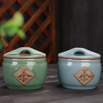 创意哥窑陶瓷茶叶罐密封储物罐 小号