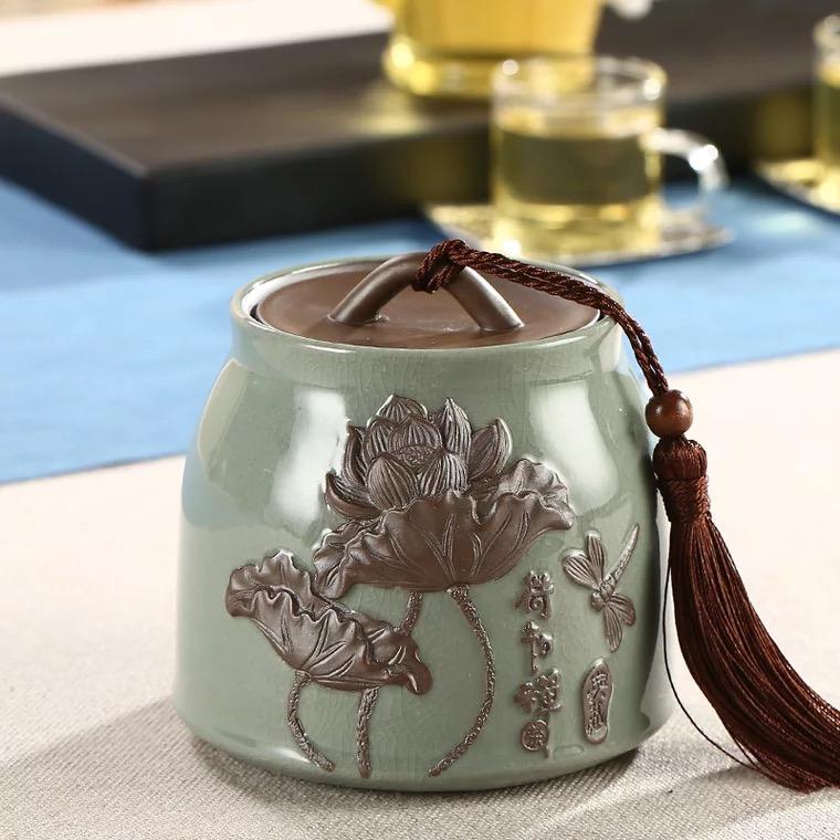 哥窑浮雕陶瓷茶叶罐密封罐