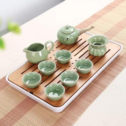 哥窑功夫茶具套装10头 梅子青茶具