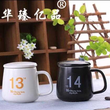 1314情侣杯 黑白磨砂马克杯 带杯盖