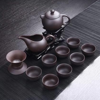 紫砂茶具套装 原矿紫砂 配茶壶