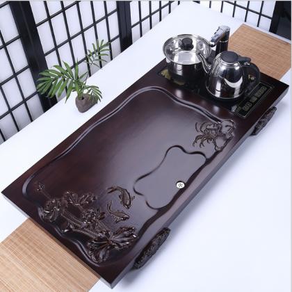 实木茶盘连体四合一排水式茶台