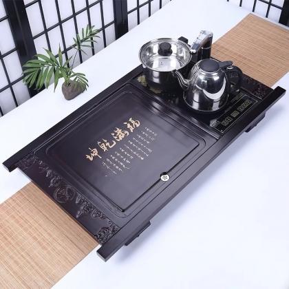实木整块茶台 四合一储水排水式茶台