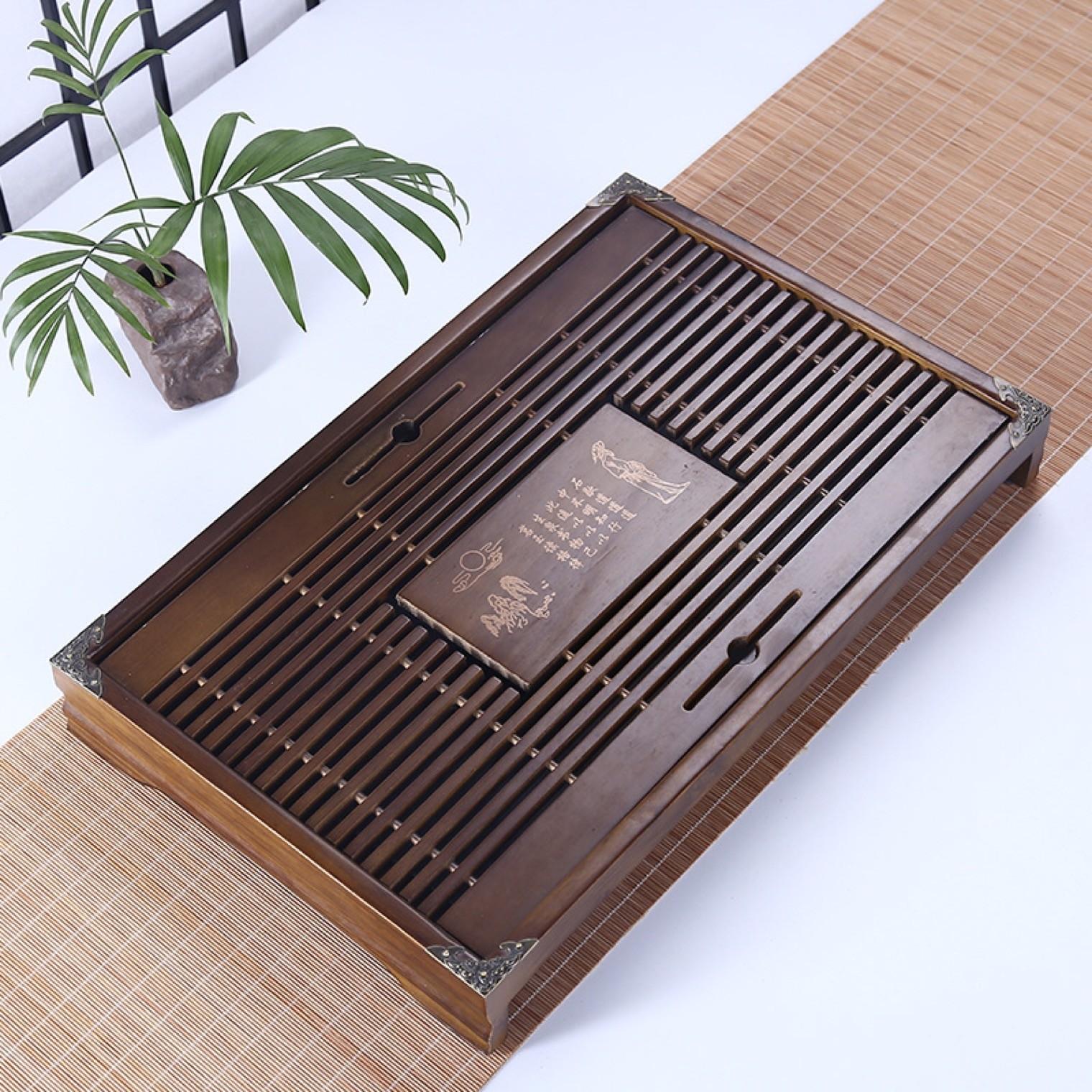 木制茶盘抽屉式日式功夫茶盘 小号储水式