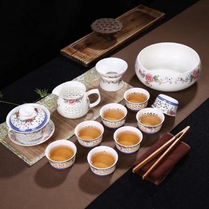 青花玲珑陶瓷功夫茶具套装