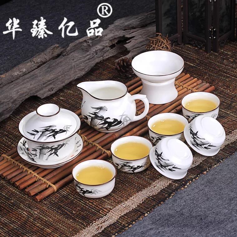 手绘定窑茶具套装白色 德化陶瓷茶具