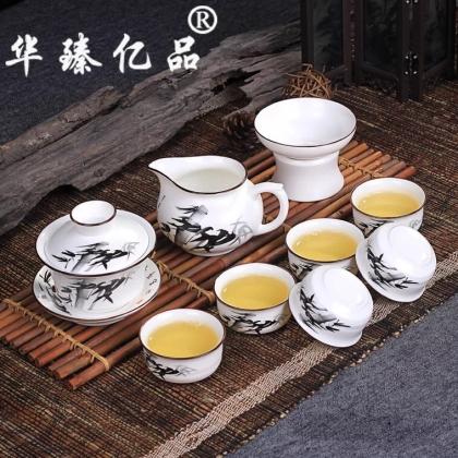 手绘定窑白色茶具套装德化陶瓷茶具