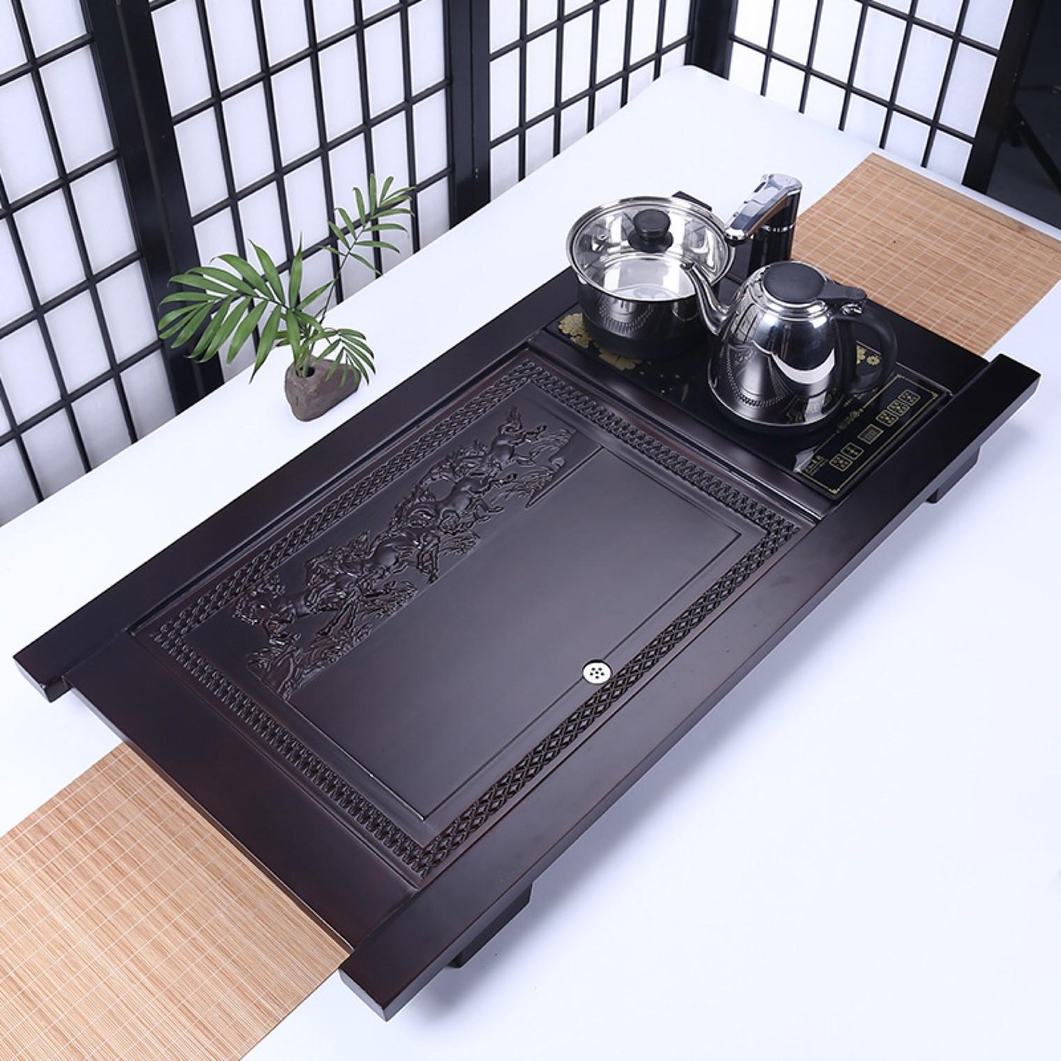 实木茶盘连体四合一电磁炉竹制茶盘