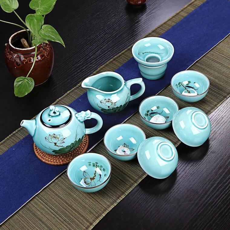 手绘青瓷茶具套装