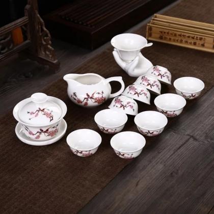 高档玉瓷白瓷功夫茶具套装