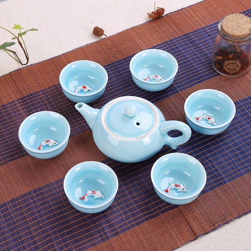 高档青瓷鱼杯茶具功夫茶具套装