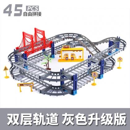 百变轨道车双层轨道拼装电动极速轨道益智玩具