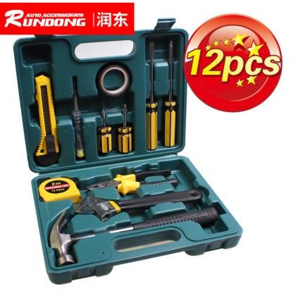 车载应急组合工具箱 五金维修工具12件套装
