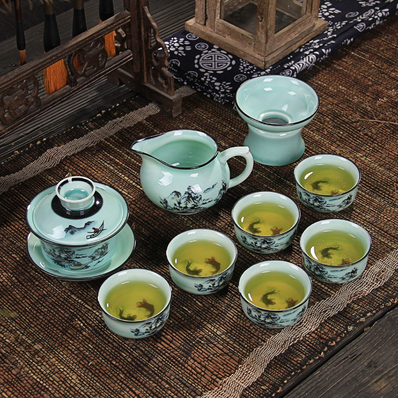 哥窑手绘青瓷陶瓷功夫茶具含礼盒