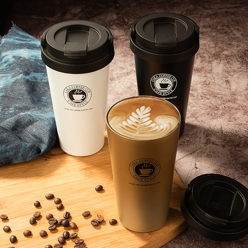 caka双层真空不锈钢咖啡杯随手马克杯500ml包邮