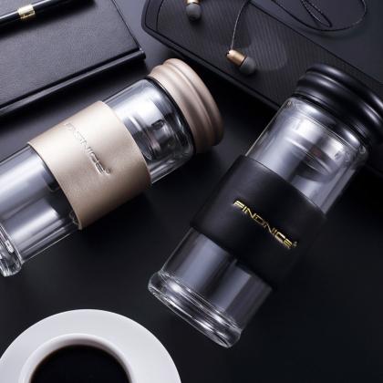 法耐双层隔热玻璃杯耐高温商务办公茶水分离泡茶水杯 FNB-0115A