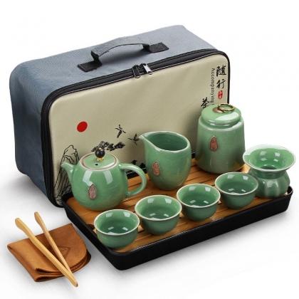 户外陶瓷功夫旅行茶具套装 车载收纳茶壶便携包茶具