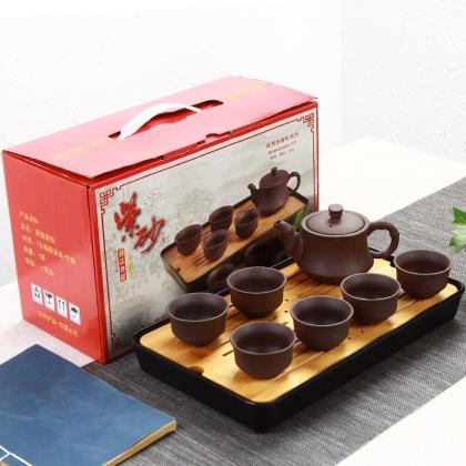 竹节紫砂陶瓷功夫茶具套装 整套含竹茶盘