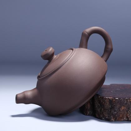 正品朱泥原矿竹节紫砂茶壶 宜兴段泥全手工名家茶具