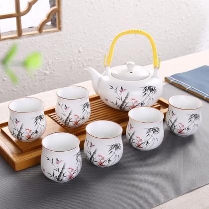亚光釉清韵半球茶壶 茶具套装 10头