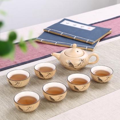 彩砂陶功夫茶具套装 粗陶茶具 一壶六杯