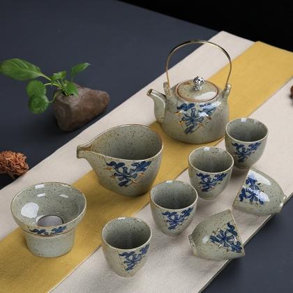 粗陶复古日式功夫茶具 手工制作