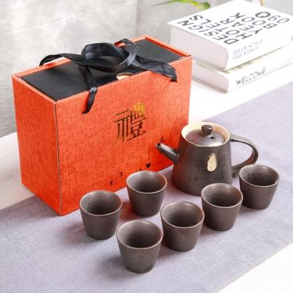 钧窑陶瓷功夫茶具礼品套装一壶六杯手执壶 红色礼盒 送礼佳品