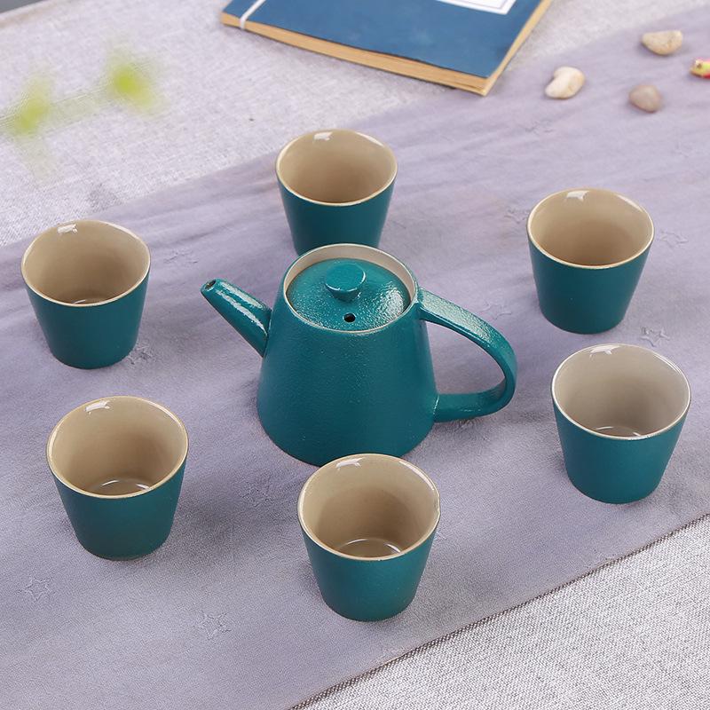 欧式复古玛瑙特色古陶茶具 粗陶 一壶六杯