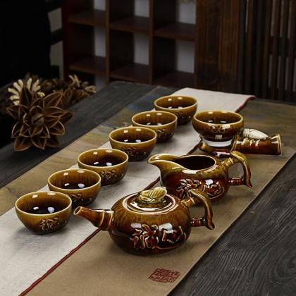 兔毫天目釉茶具套装 10头 送礼收藏