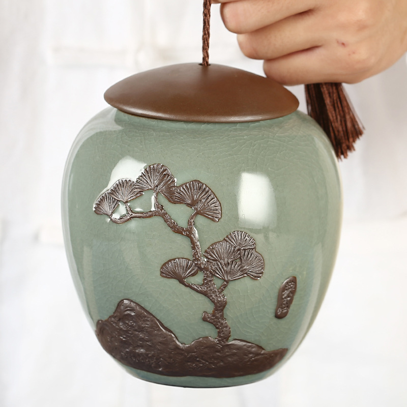 手绘陶瓷茶叶罐密封罐 哥窑手绘浮雕