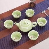 高档青瓷鱼杯茶具/套