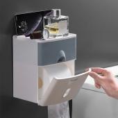 梦妮 双层多功能纸巾盒 浴室防水免打孔置物盒
