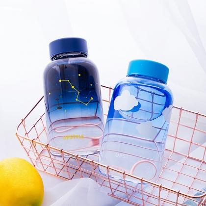 渐变玻璃杯便携韩版耐高温星空杯 磨砂/透明