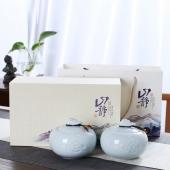 陶瓷浮雕茶叶罐大号密封罐 单罐/双罐送礼礼盒装