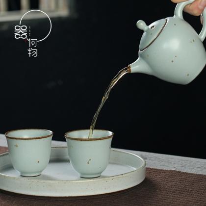 器何物 日式粗陶复古汝窑洒金茶具套装