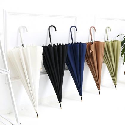 日系小清新直杆伞16K钢骨架 纯色23英寸雨伞