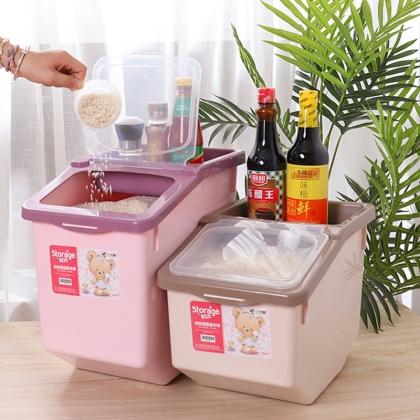 厨房密封米桶 顶盖带凹槽粮油收纳 20斤/30斤
