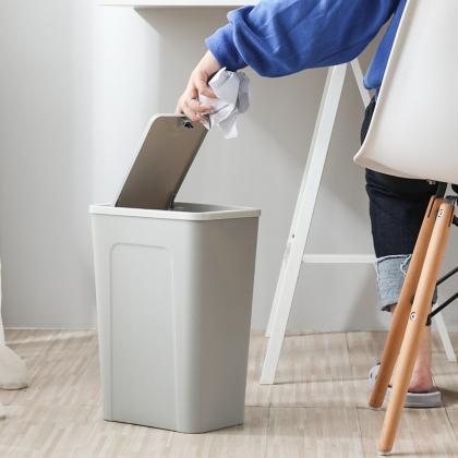 北欧创意翻盖按压式垃圾桶 素雅纯色