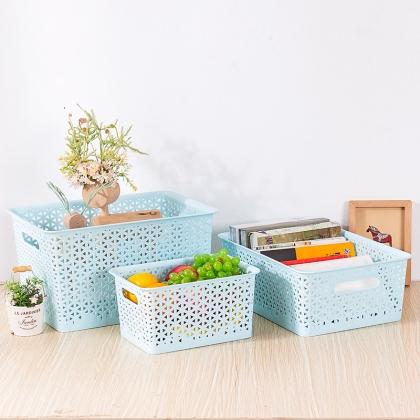 日式塑料收纳篮可叠加收纳筐