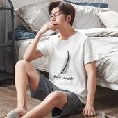 男士夏季纯棉短袖睡衣薄款套装